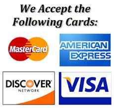 We Accept american Express, MasterCard and Visa